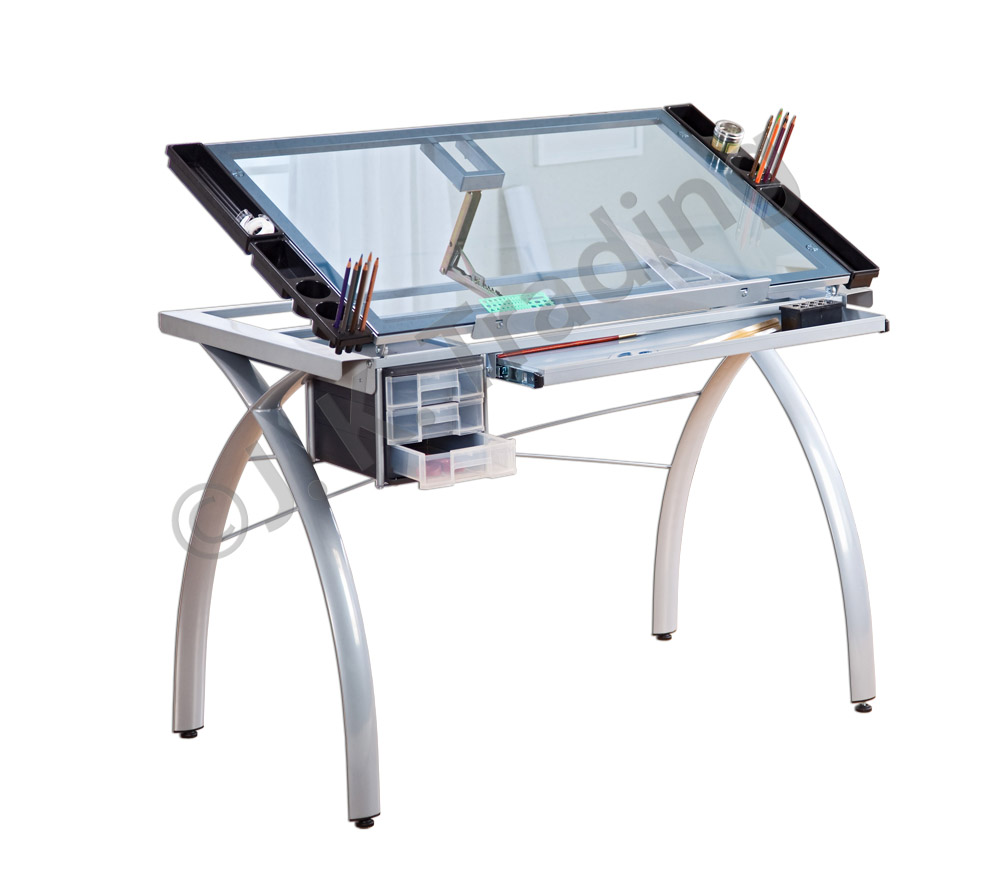 modern full glass desk. Modern Glass Drafting Table Full Desk R