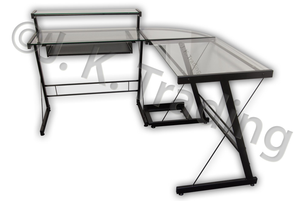 Final two black-on-black Executive L-Shaped Tables on sale for $136.99