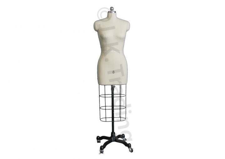 Professional female dressmaker lite version with adjustable height and iron base on castors.
