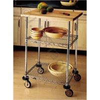 Kitchen Trolley with Wood Top