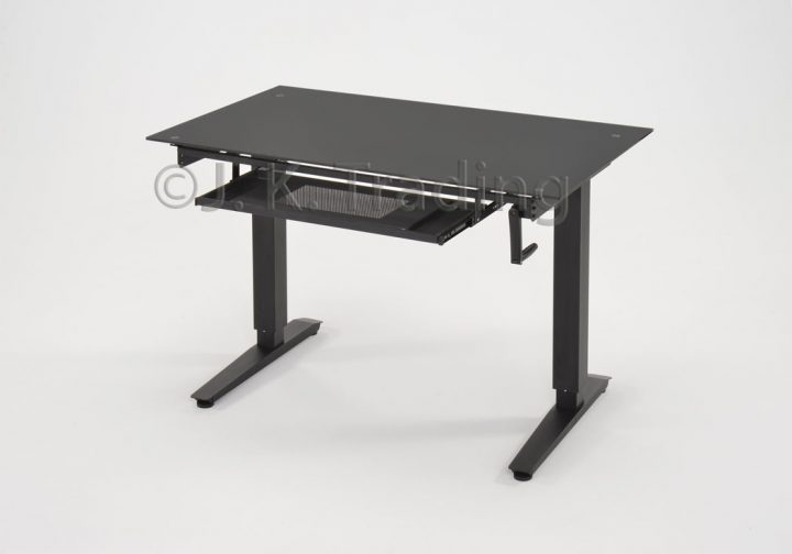 Height Adjustable Standing Desk Glass Top