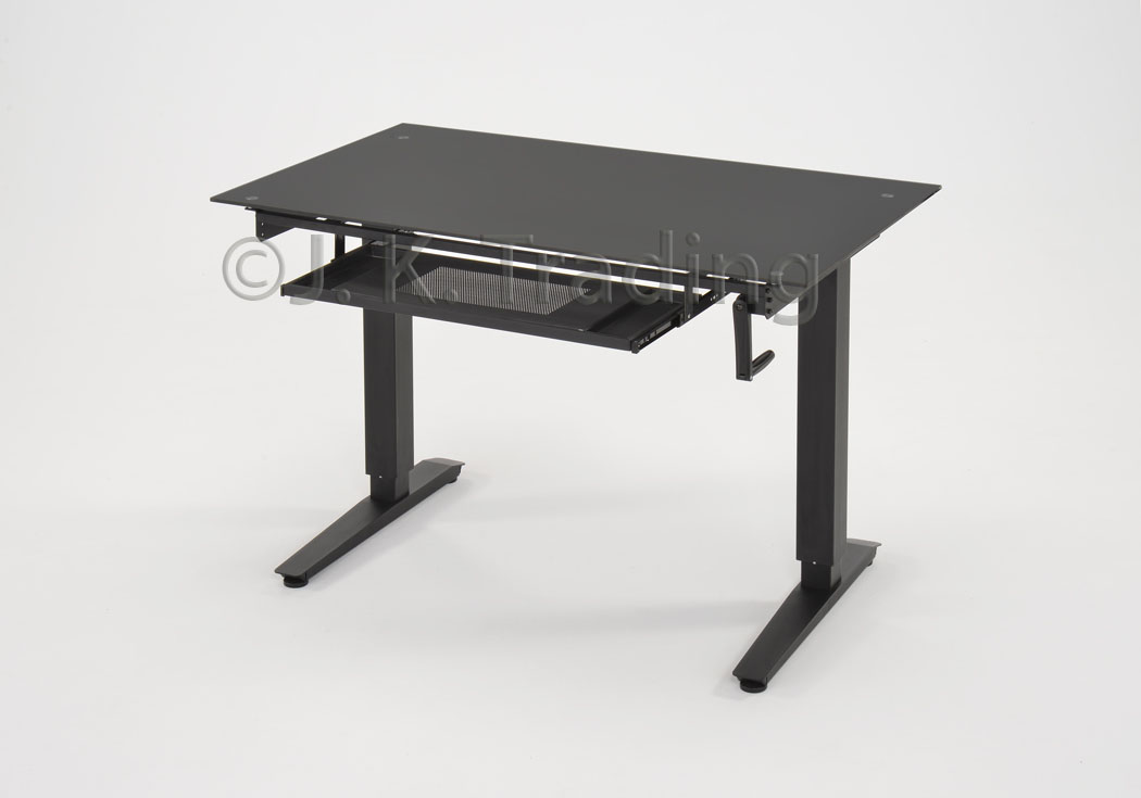 glass top for height adjustable standing desk. Black Bedroom Furniture Sets. Home Design Ideas